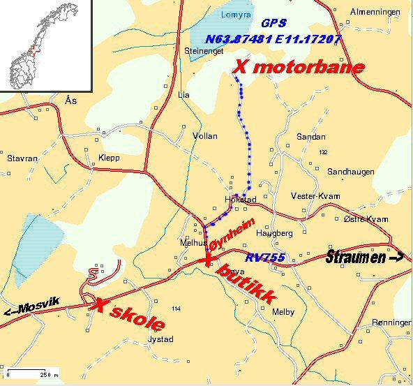 Veibeskrivelse fra RV755 til Hogstad MX bane på Inderøy